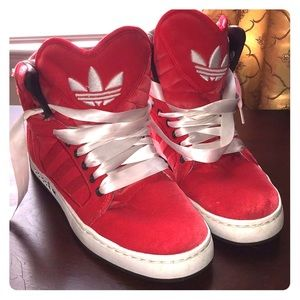 Adidas Women's Red Velvet High Tops Size 8